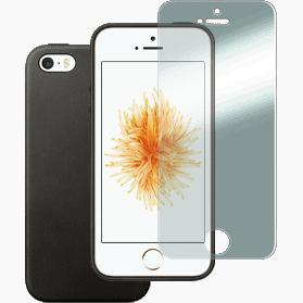 iPhone 5 en iPhone SE screenprotector en hoesje siliconen zwart
