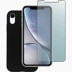 iPhone XR screenprotector en siliconen hoesje zwart