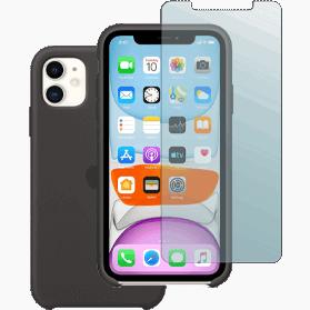 iPhone 11 screenprotector en siliconen hoesje zwart