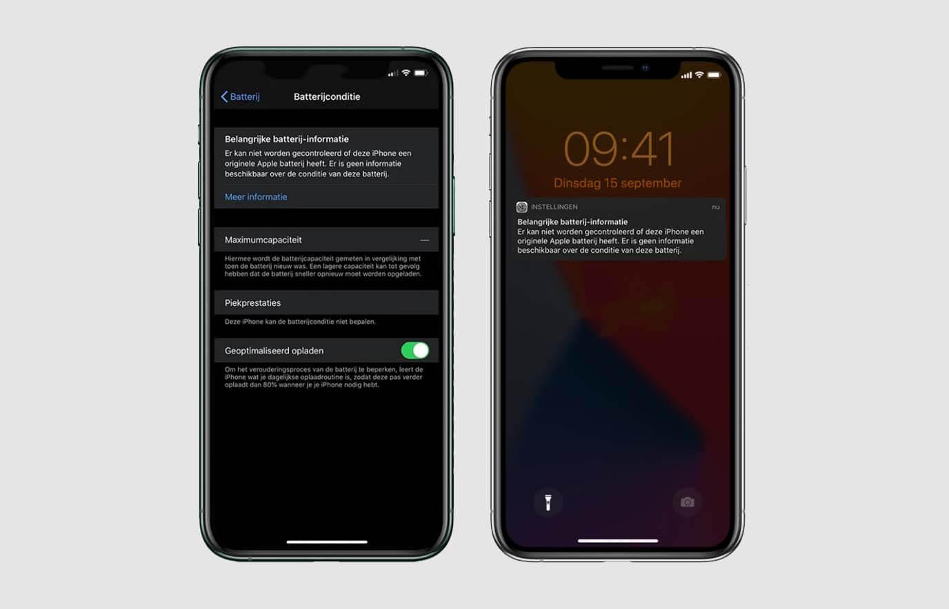 Batterij melding iPhone