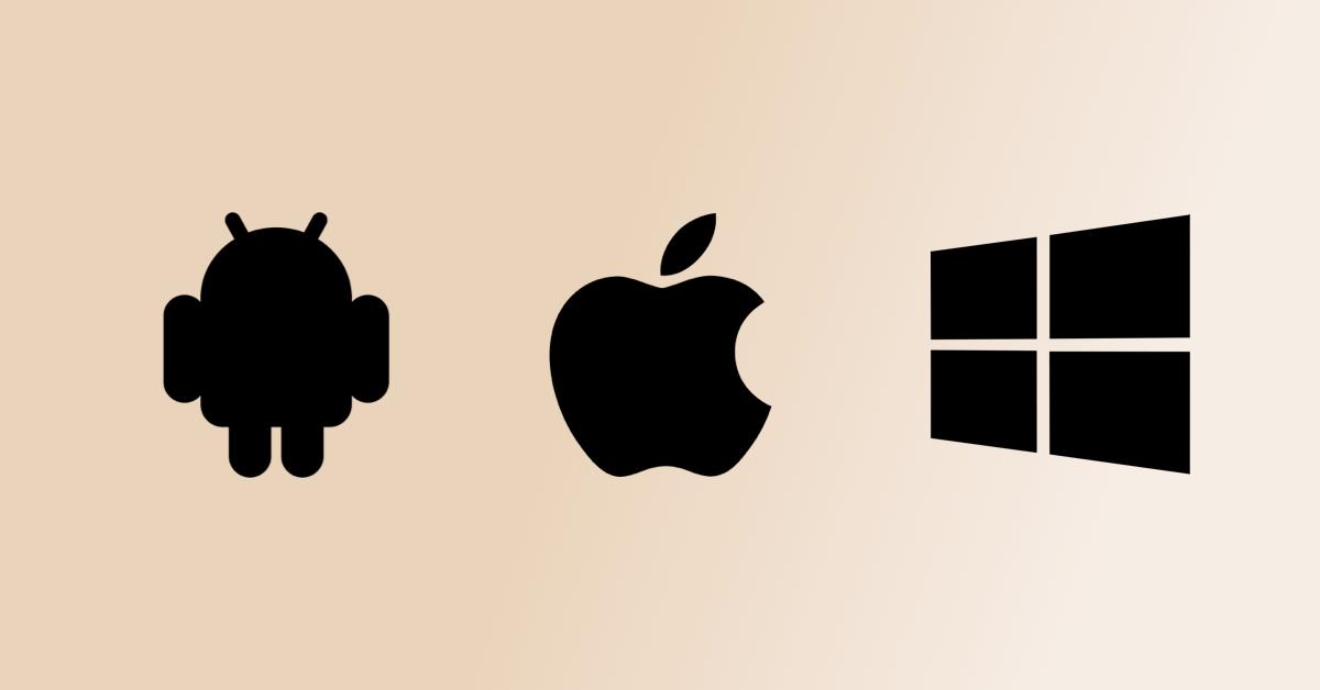 logos windows, apple, android