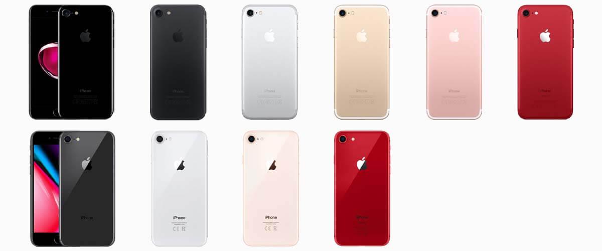 iPhone 7 en iPhone 8 kleuren